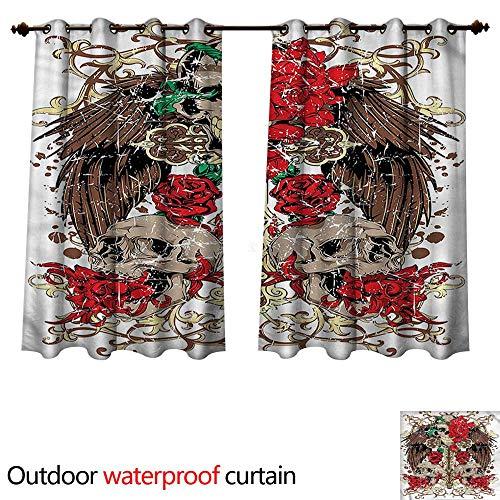 cobeDecor Tattoo Outdoor Ultraviolet Protective Curtains Mexican Sugar Skull Design W120 x L72(305cm x 183cm)