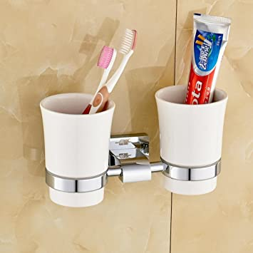 SSBY Copper Mug Rack, Dual Cup Holders, Toothbrush Bathroom Cup Holder,  Ceramic Toothbrush
