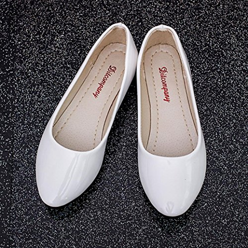 Ama (tm) Scarpe Da Donna A Punta Piatta Slip On Mocassini Soft Driving Walk Shoes White