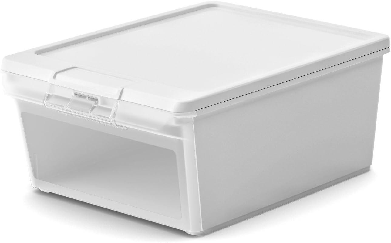 Caja de plástico blanco - 20 litros de almacenamiento con tapa y ...