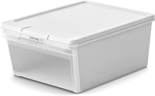 Caja de plástico blanco - 20 litros de almacenamiento con tapa y tapa frontal para zapatos, juguete para niños, dulces, etc, - TWIN BOX: Amazon.es: Hogar