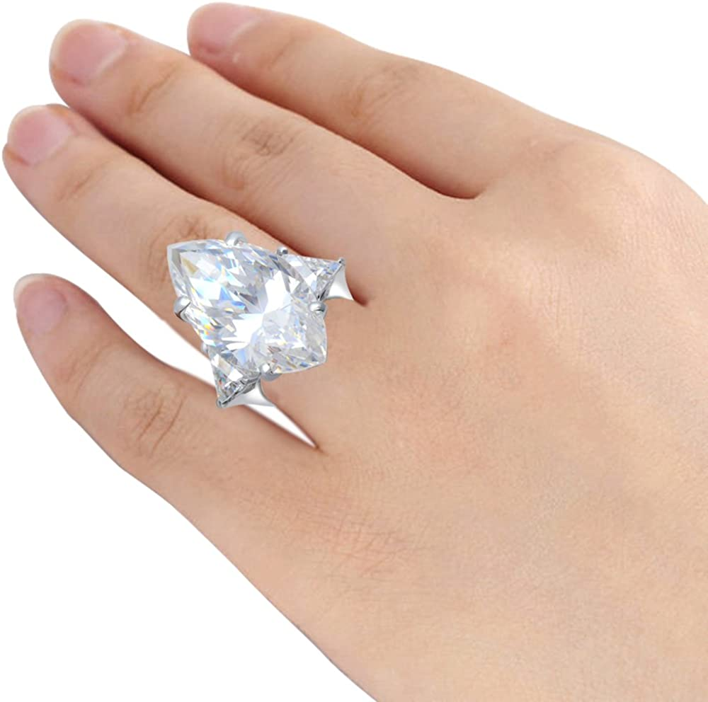 A Unique Engagement Promise Ring Or a Top Gift Idea For Ladies Orchid Jewelry 21 Ctw Synthetic White Cubic Zirconia Sterling Silver Dainty Ring For Women-Marquise Birthstone Gemstone