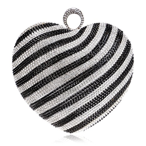 Abito colore nero Nero Diamond Heart Shoulder da sera Bag Hemotrade Clutch Bride Gradient PIRvx7pn