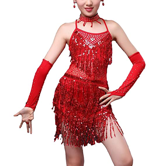 Zhhlinyuan Kids Fashion Party Dancewear Costumes Girls Tasseled