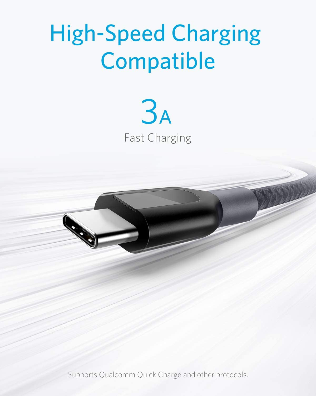 USB Type C Cable Powerline+ USB-C to USB-A for Samsung Galaxy S10// S9 // S9+ // S8 // S8+ and More Double-Braided Nylon Fast Charging Cable Anker 3-Pack 6ft Gray