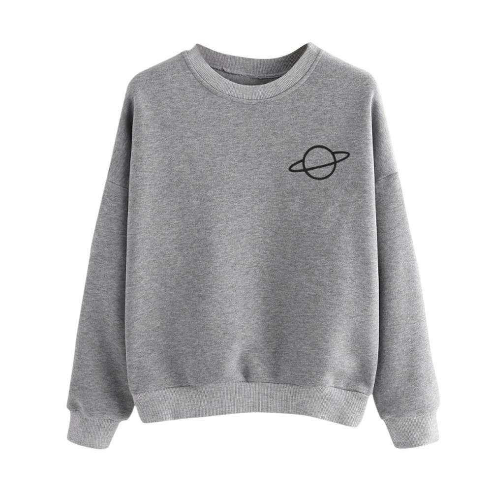 KaiCran Fashion Lady Blouse Women Casual Sweatshirt Plus Size Long Sleeve Top O-Neck Pullover Blouse (XLarge, Grey)