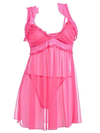 Anna-K S M Fit Pink Cute as a Cupcake Sheer Lace Trim Empire Waist ... 385be87ca