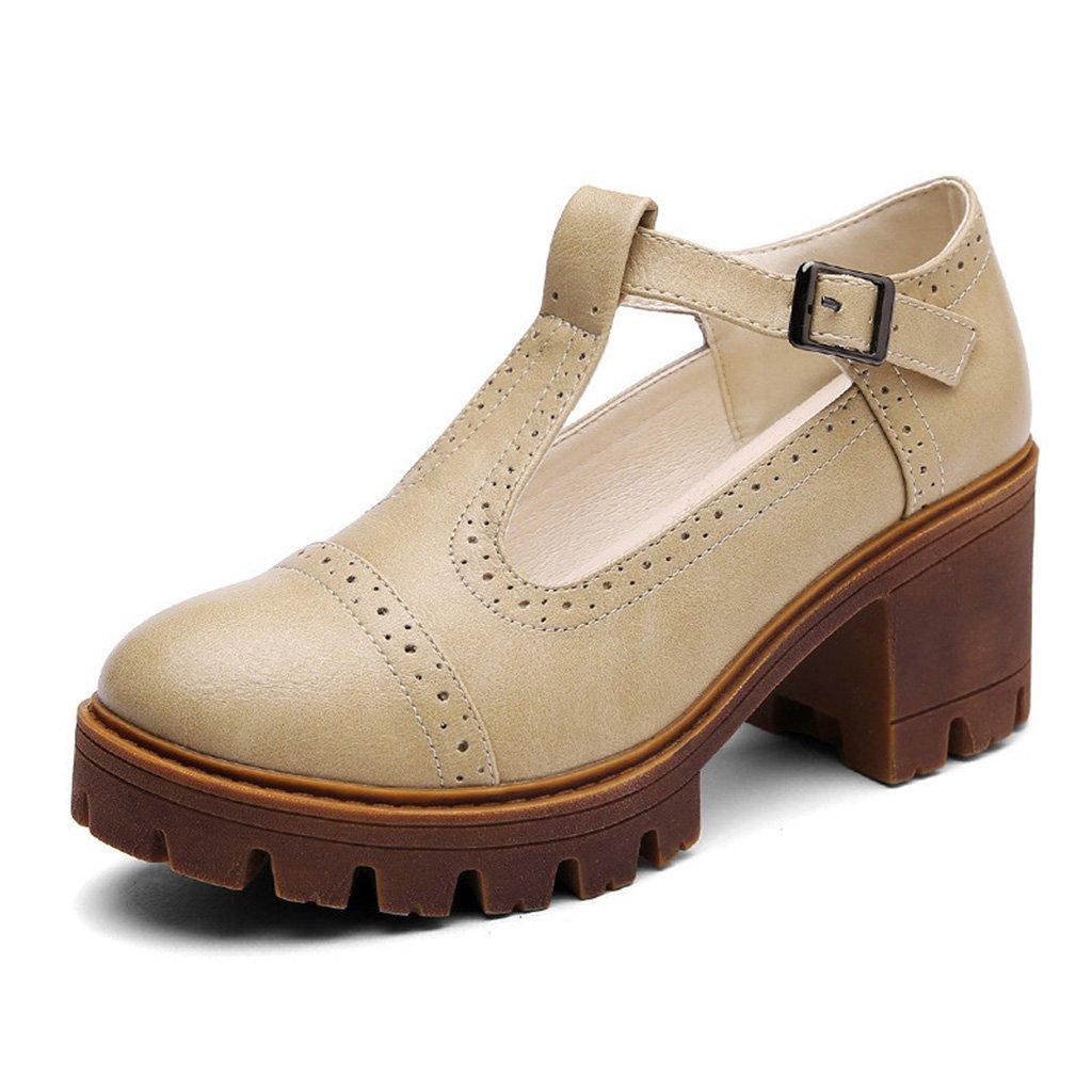 HWF : Chaussures femme Chaussures de ( printemps printemps de style britannique femmes épais fond unique occasionnel chaussures à talons hauts étudiant femelle ( Couleur : Kaki , taille : 39 ) Kaki 98de8d4 - latesttechnology.space