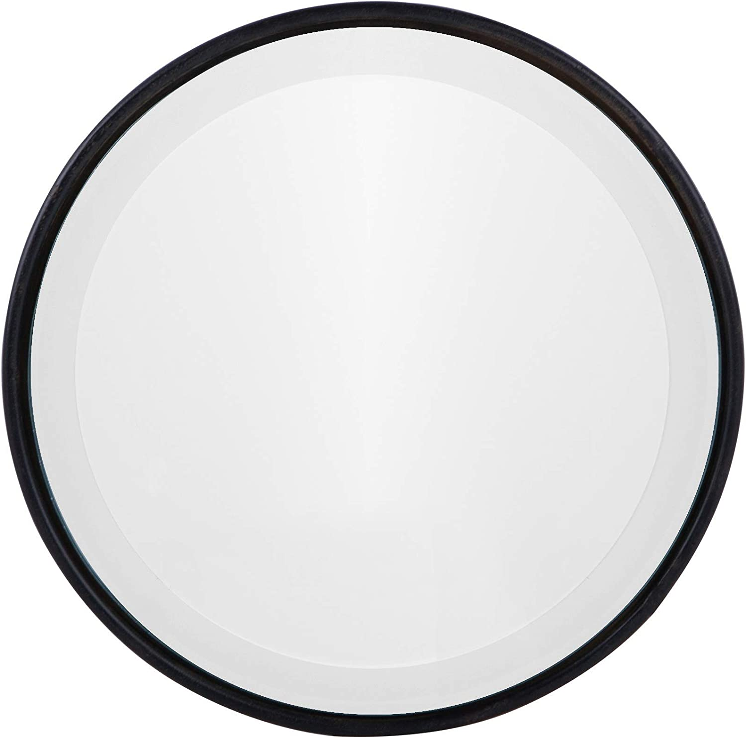 "NIKKY HOME 8"" Vintage Small Decorative Metal Round Wall Mirror Beveled Edge, Black"