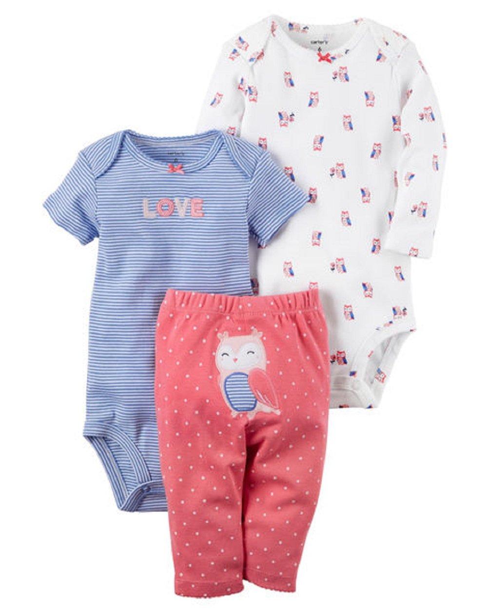 Carter's Baby Girls' 3 Piece Take Me Away Set, Owl Love, 9 Months