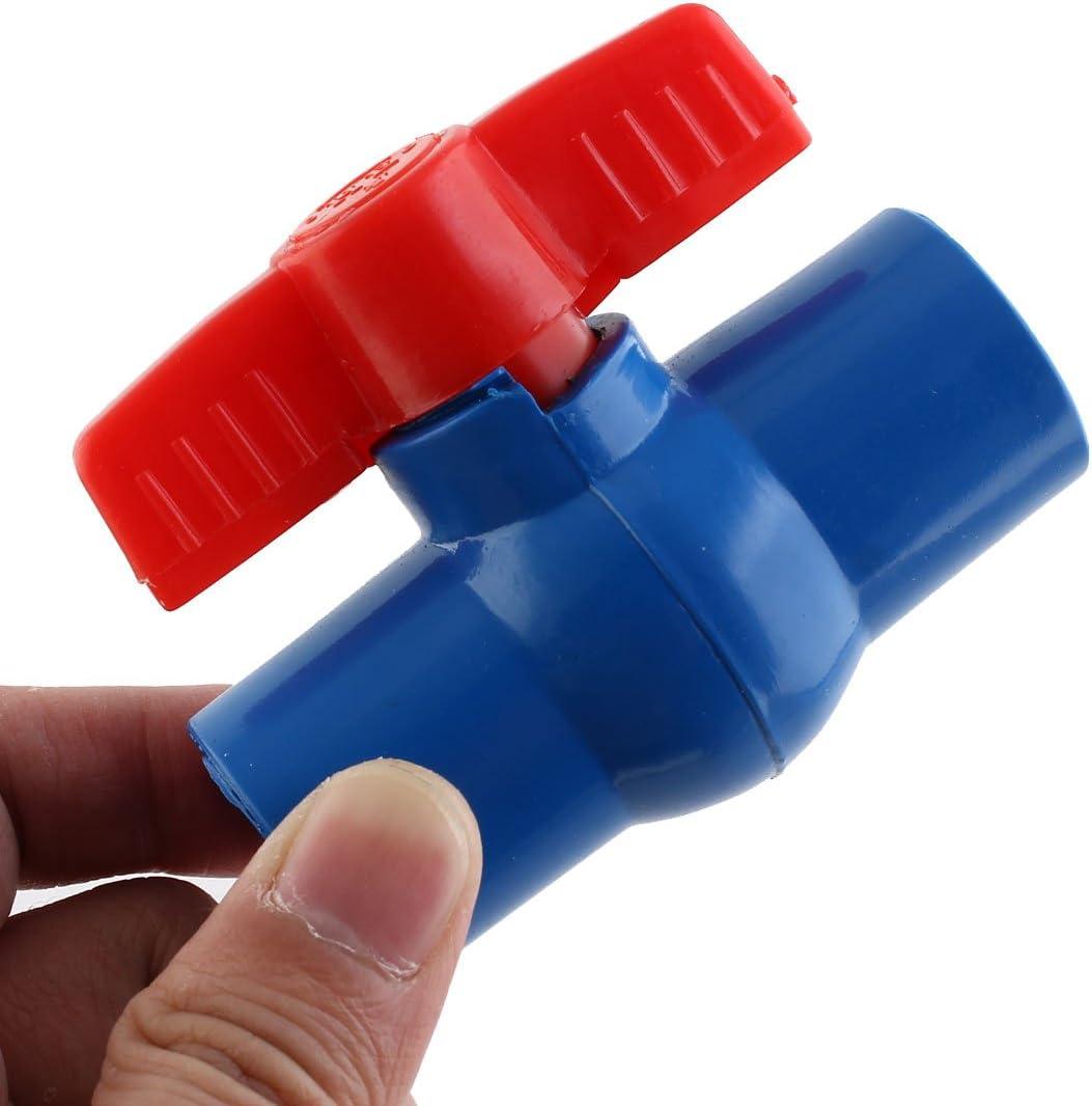 sourcingmap V/álvula de Bola de Pvc-U de Tuber/ía Suministro de Agua de 20mm a 20mm de Paso Total Montaje de 78mm de Largo