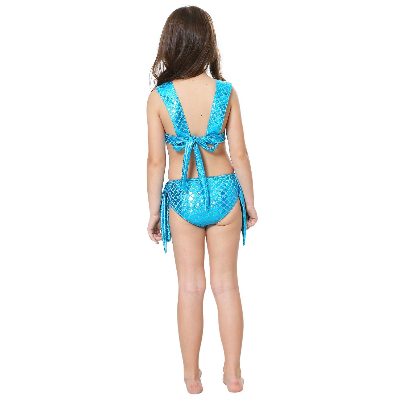 loenzo otiz Beautiful Girl Mermaid Bikini and fins Girls Swimsuit Set 4PC