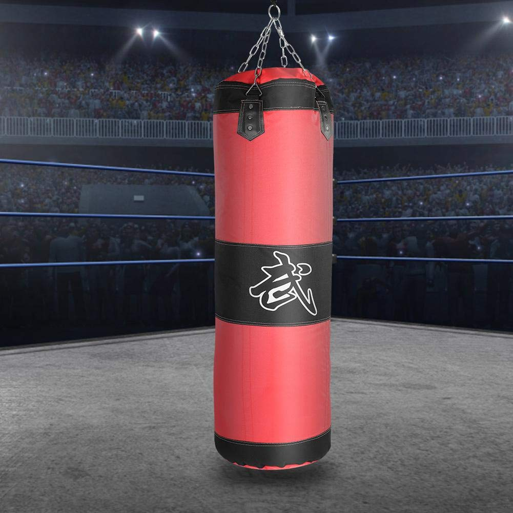 1.2m-rojo Saco de Boxeo,Bolsa de Entrenamiento de Boxeo Lona Saco de Arena de Boxeo Saco de Boxeo Vac/ío MMA Muay Thai Kick Boxing Artes Marciales Punching Bag con Cadenas para Ni/ños Adultos