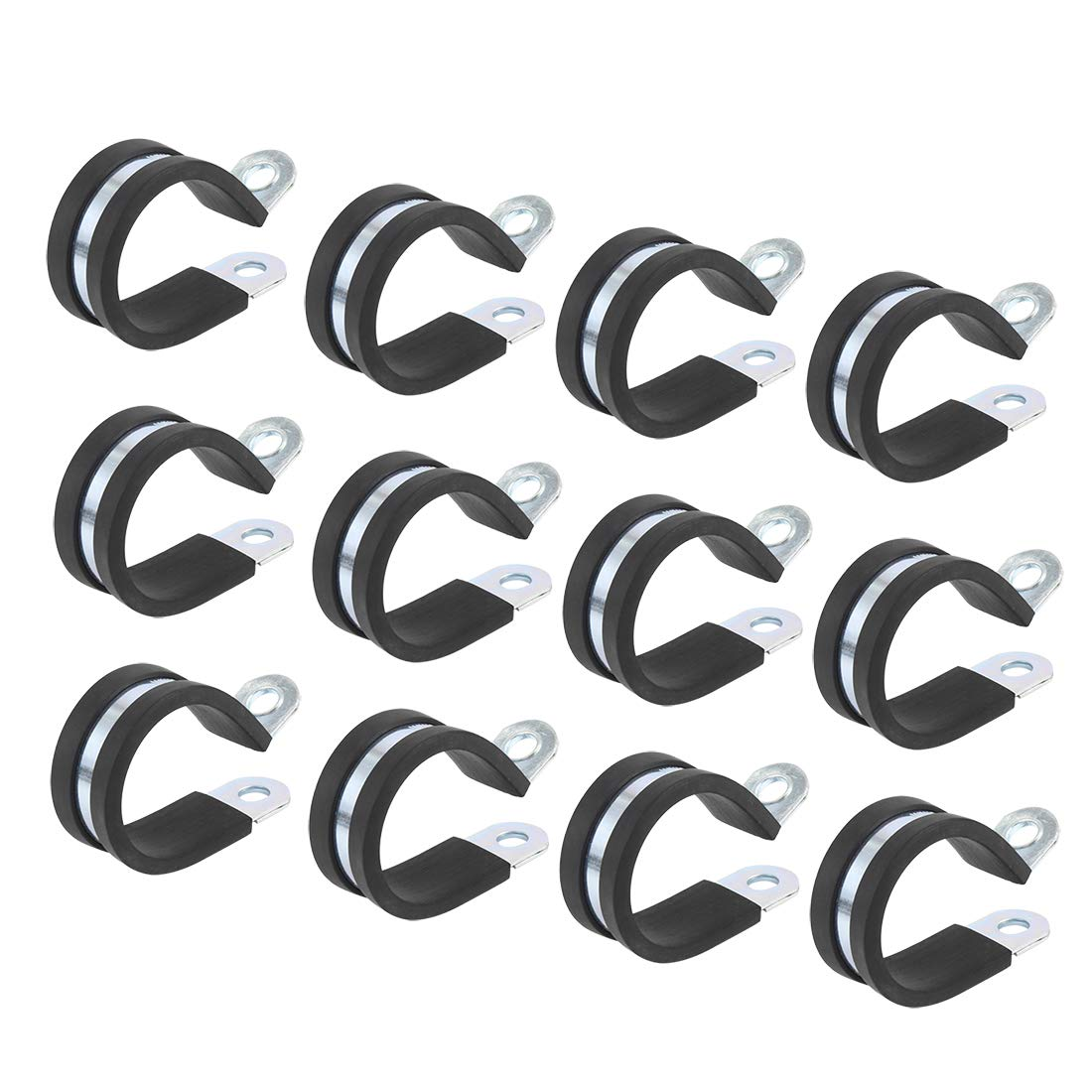 X AUTOHAUX 12pcs 18mm 0.71 Inch R Shape Automotive Stainless Steel Cable Clamp Rubber Cushioned Insulated Clamp Metal Clamp for Tube Pipe Wire Installation
