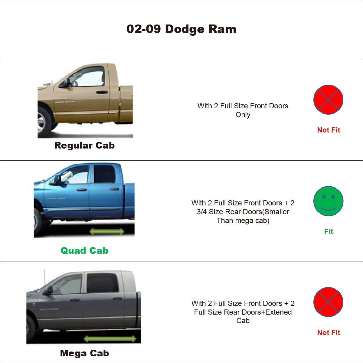 IINAWO 4pcs Front Rear Smoke Sun Rain Guard Vent Shade Window Visors Fit 02-08 Dodge Ram 1500 Quad Crew Cab 03-09 Ram 2500 3500 Quad Crew Cab