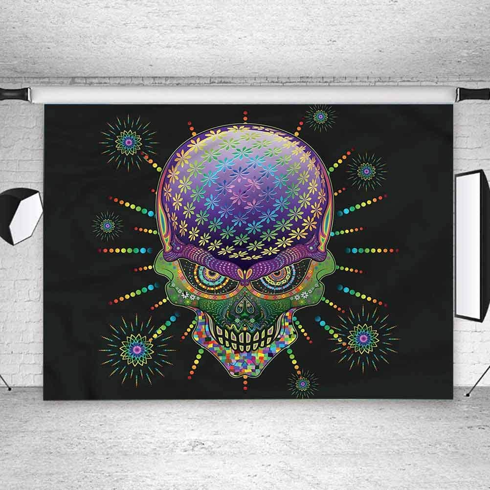 8x8FT Vinyl Photography Backdrop,Psychedelic,Halloween Mexico Skull Background Newborn Birthday Party Banner Photo Shoot Booth