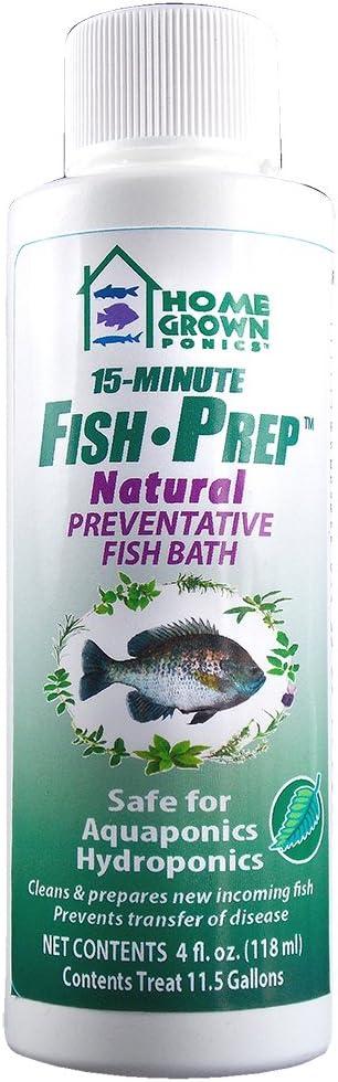 HOME GROWN PONICS Fish Prep # 96008 Natural Preventative Fish Bath, 4-oz.