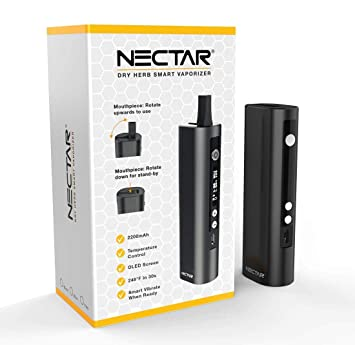 NECTAR v2 | Dry Herb Vaporizer - Rechargeable Portable Premium Vaporiser  with Ceramic Heating Chamber, Rotating Mouthpiece, 30s Heat up time &  2200mAh