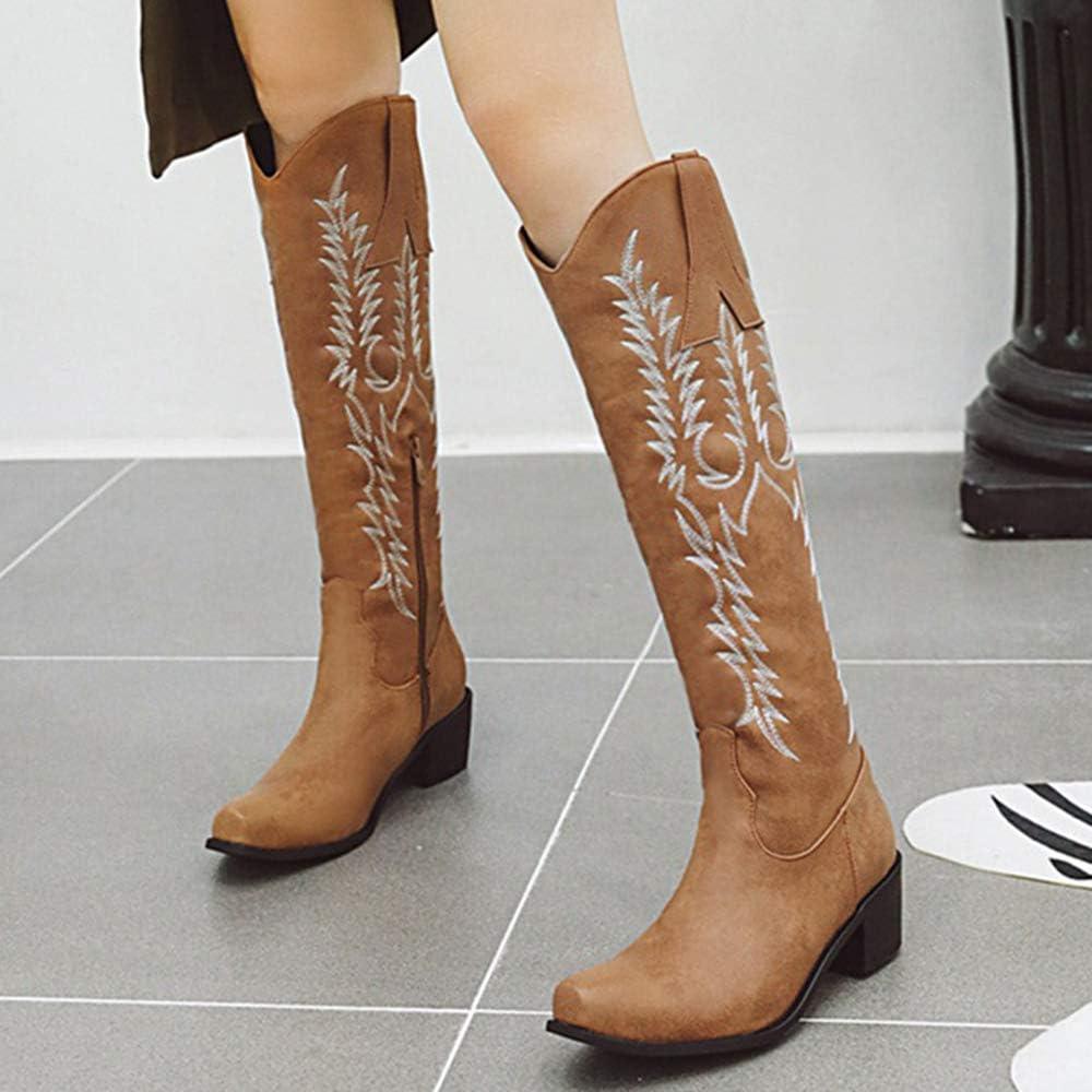 COOL CEPT Donna Western Stivali Tacco Chunky Zip Camel
