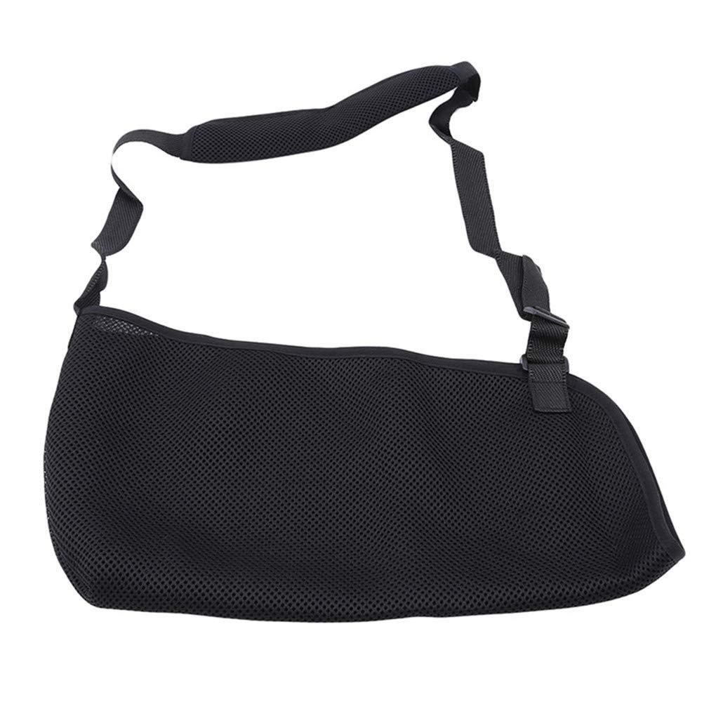 HAOWANG Shoulder Belt Arm Sling Breathable Mesh Elbow Brace Fracture Support Strap Accessories Supplies Adjustable Black
