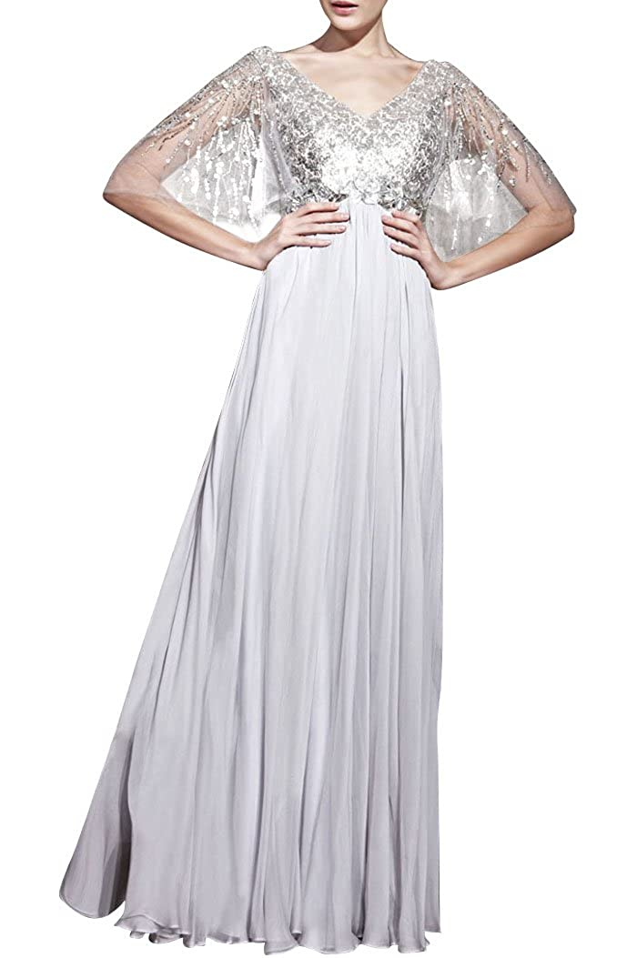 Chiffon A-line Special Occasion V-Neck Short Sleeves Long Mother of the Bride Dress E20335