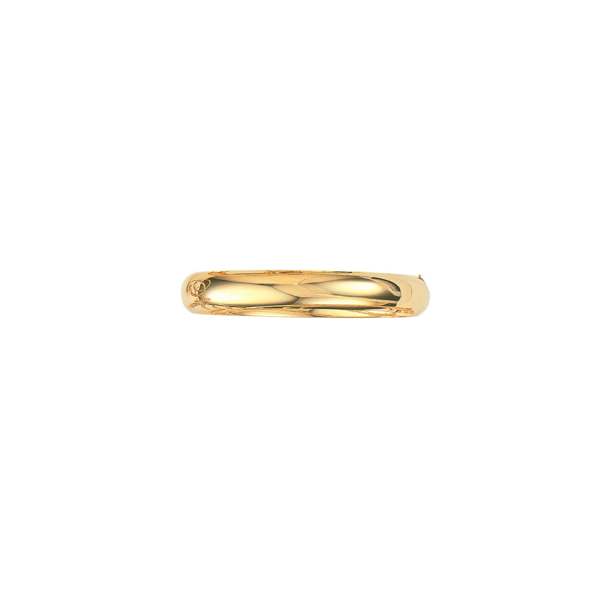 14K Yellow Gold Plain Shiny Round Dome Classic 10mm Wide Bangle 8'' Bracelet with Clasp