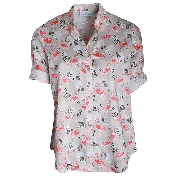 just white women\u0027s shortsleeve flamingo print shirt amazon co uk