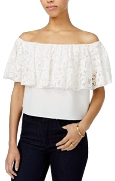 fab28bfe790b6f Rachel Roy Womens Lace Off The Shoulder Top Fashionable and Stylish Dress  White Size Medium at Amazon Women s Clothing store