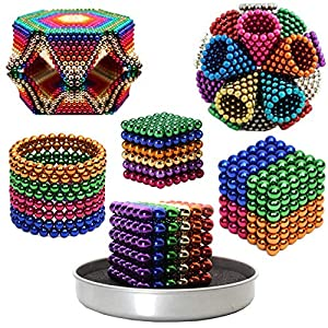 Magnet balls 5mm set (216 pcs ) Original Buildable Magnet Sculpture Stress Relief Intelligence Development and Desk Toy for kids and Adults Puzzle Magic Ball DIY Educational Toys TruWire – Rainbow