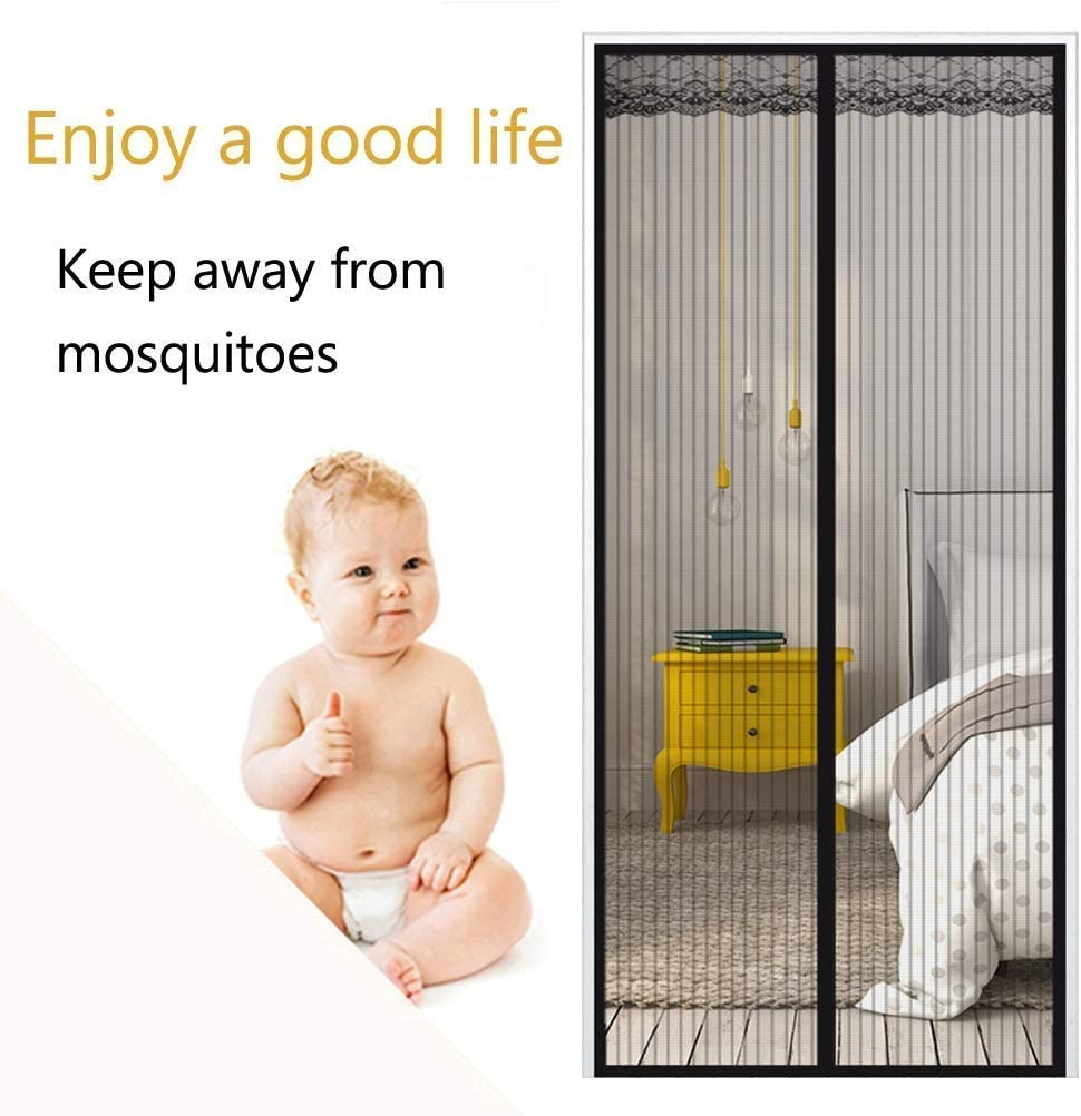 2Pcs St@llion Black Magnetic Door Window Anti Insect Fly Bug Mosquito Child Pet Protection Guard Net