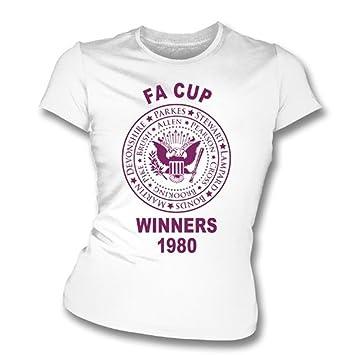 La camiseta el an o 80 del ajustado de la muchacha de los ganadores de West Ham la FA Cup, colorea blanco: Amazon.es: Deportes y aire libre