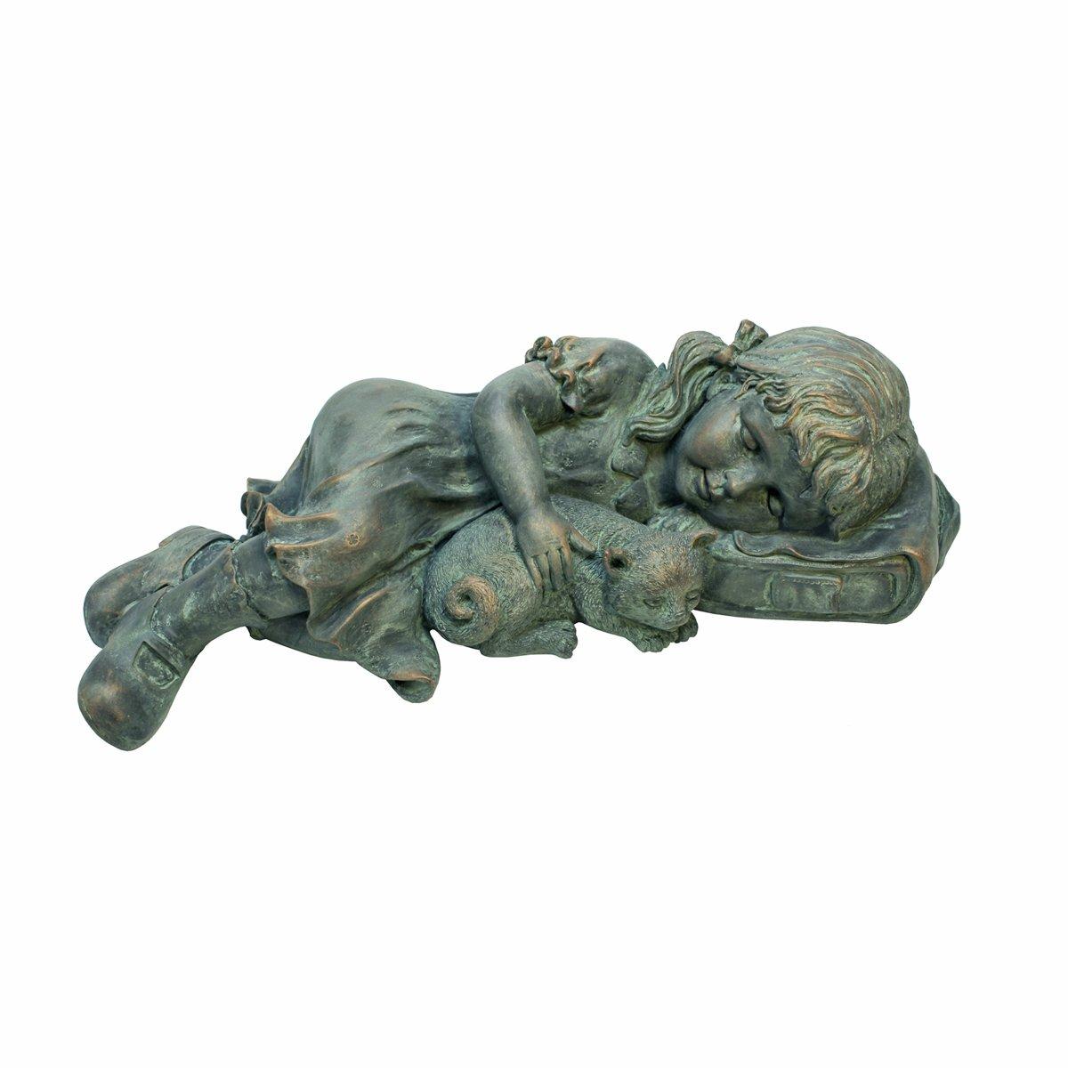 Design Toscano Sarah Slumbers Little Girl and Kitten Garden Statue
