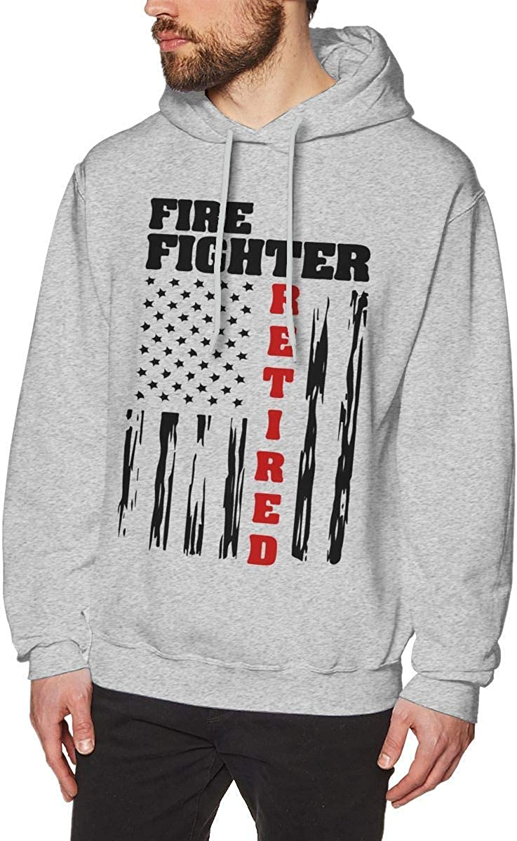 Mens Fire Fighter Retired-1 Hooded Sweatshirt Casual Athletic Pullover Tops Gray