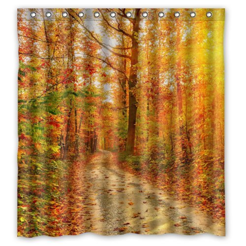 Fashion Shower Curtains - Romantic Autumn the Fall of Maple Leaves - Custom Personalized Bathroom Curtains Waterproof Polyester Fabric 66(w)x72(h) Rings Included (Autumn Shower Curtain 66)
