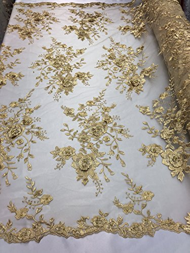 3D Floral Pearl Beaded Embroidery Lace Fabric - Gold - Beautiful Dress Design Floral Embroidered Lace Mesh Fabrics Sold by The Yard