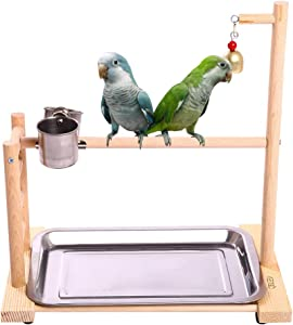 QBLEEV Birdcage Stands Parrot Play Gym Wood Conure Playground Bird Cage Stands Accessories Birdhouse Decor Table Top PlayStand with Ladder Stainless Steel Feeder Cup Tray for Small Medium Parakeets Ca
