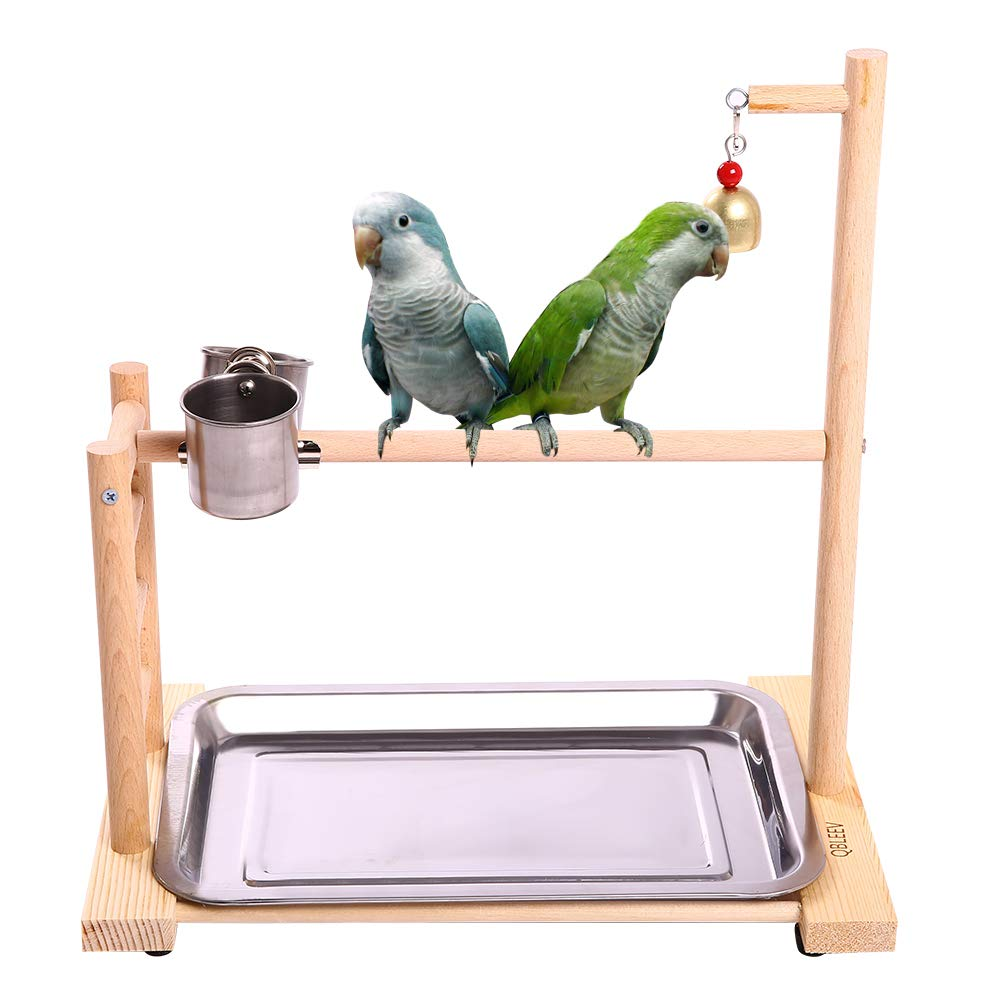 QBLEEV Birdcage Stands Parrot Play Gym Wood Conure Playground Bird Cage Stands Accessories Birdhouse Decor Table Top PlayStand with Ladder Stainless Steel Feeder Cup Tray for Small Medium Parakeets Ca by QBLEEV
