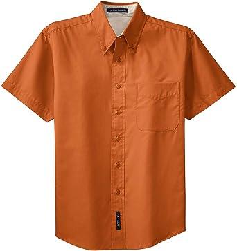 Port Authority Mens Big Short-Sleeve Easy Care Dress Shirt-Black//Light Stone S508