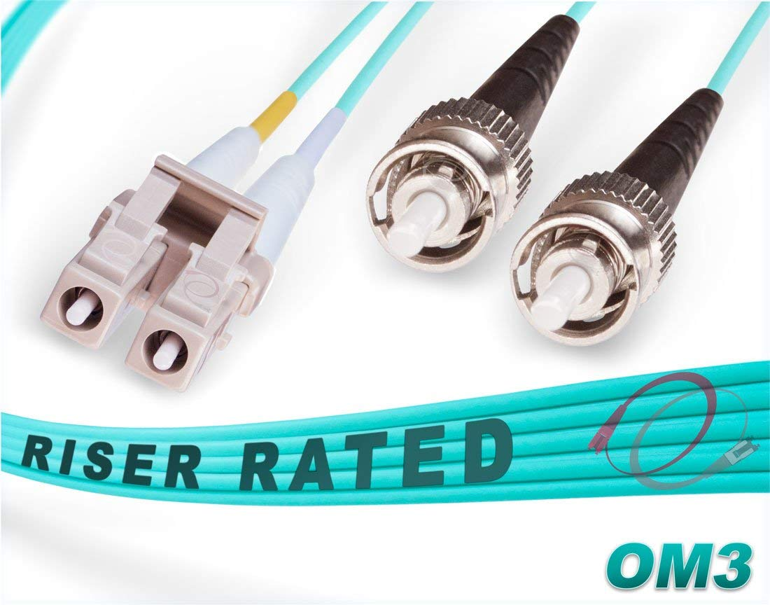 FiberCablesDirect - 100M OM3 LC ST Fiber Patch Cable | 10Gb Duplex 50/125 LC to ST Multimode Jumper 100 Meter (328ft) | Length Options: 0.5M-300M | ofnr mmf lc-st dx 10gig spf+ lc/st aqua patchcord