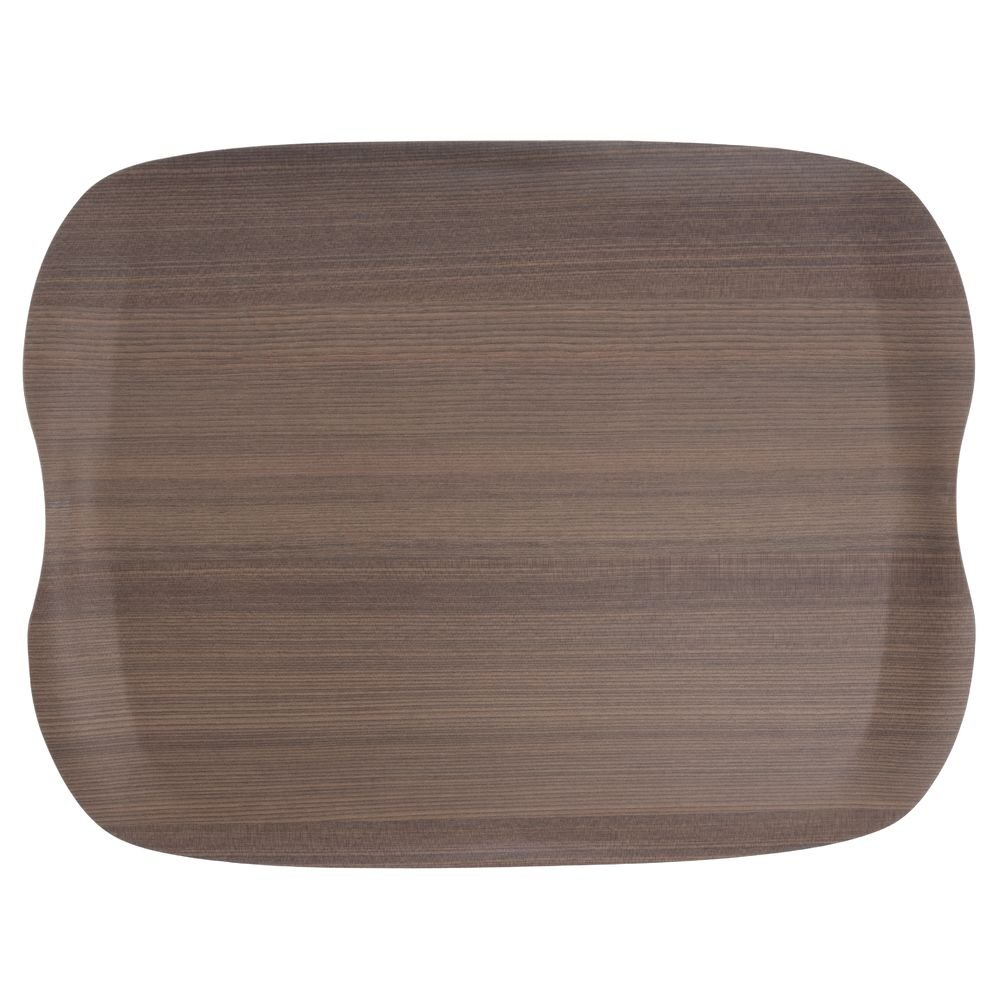San Jamar Warm Wood Bio-Based Fiber Earth Tray - 16 1/2'' x 12 1/2''
