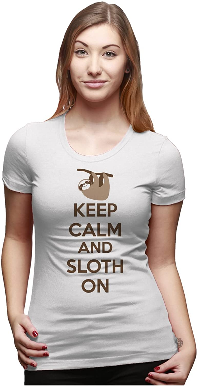 Amazon.com: Women's Keep Calm and Sloth On T-Shirt Funny Internet ...