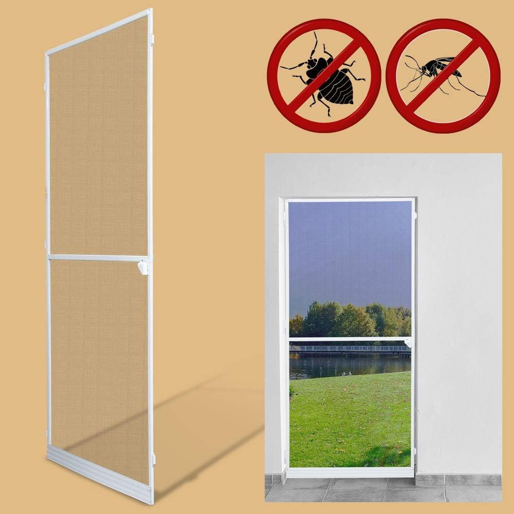 Mosquiteras para Mosquiteras puertas Mosquitera Pantalla Pantalla de Insecto protección insectos malla ventana blanco Aluminio (120x210CM)