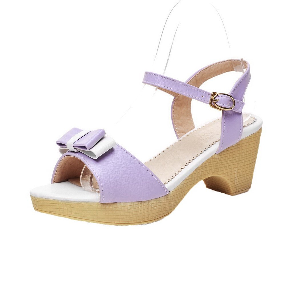 AalarDom Womens Buckle Open-Toe Kitten-Heels PU Solid Sandals, Purple(6cm), 38