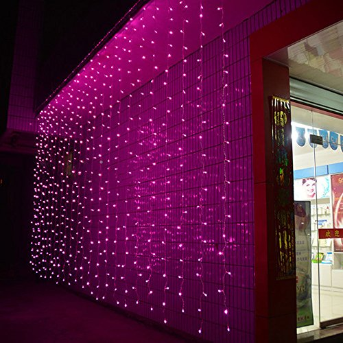 AGPtek® 3Mx3M 300 LED Extendable Linkable Design Ambiance Lighting Fairy Curtains Light String for Outdoor/Home/Garden Wedding Ceremony Christmas Party Holiday Celebration (Pink String Lights)