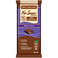 WELL NATURALLY No Sugar Added Fruit and Nut Milk Chocolate, Brown, 90 g