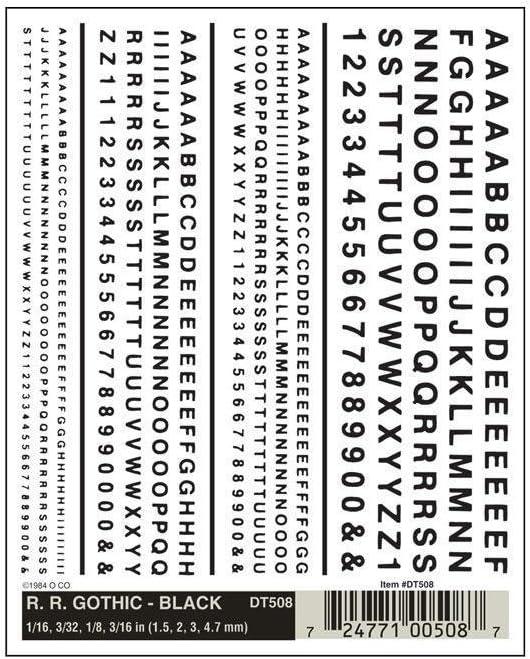 Black Railroad Gothic Letters