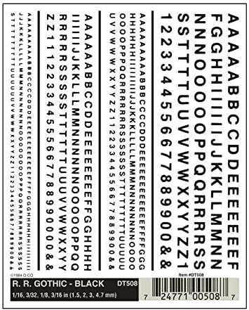 Woodland Scenics Dry Transfer Decals Railroad Gothic Letters White