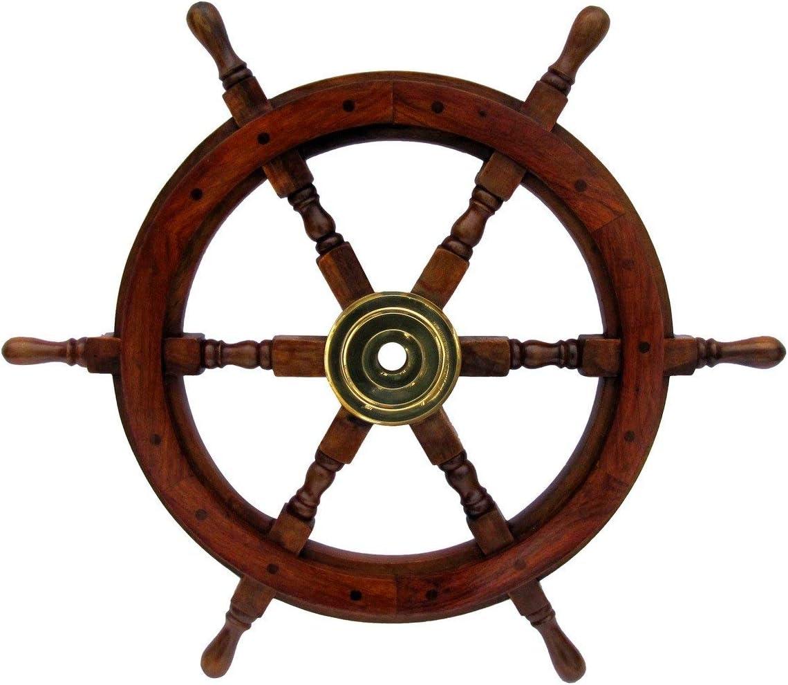 """Large 24"""" Life Size Wooden Shipwheel"""