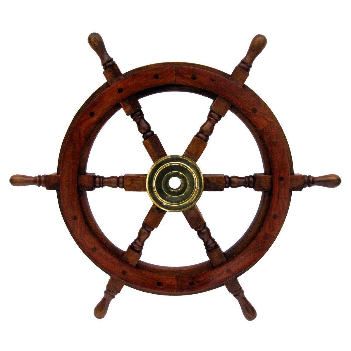 Large 24 Life Size Wooden Shipwheel