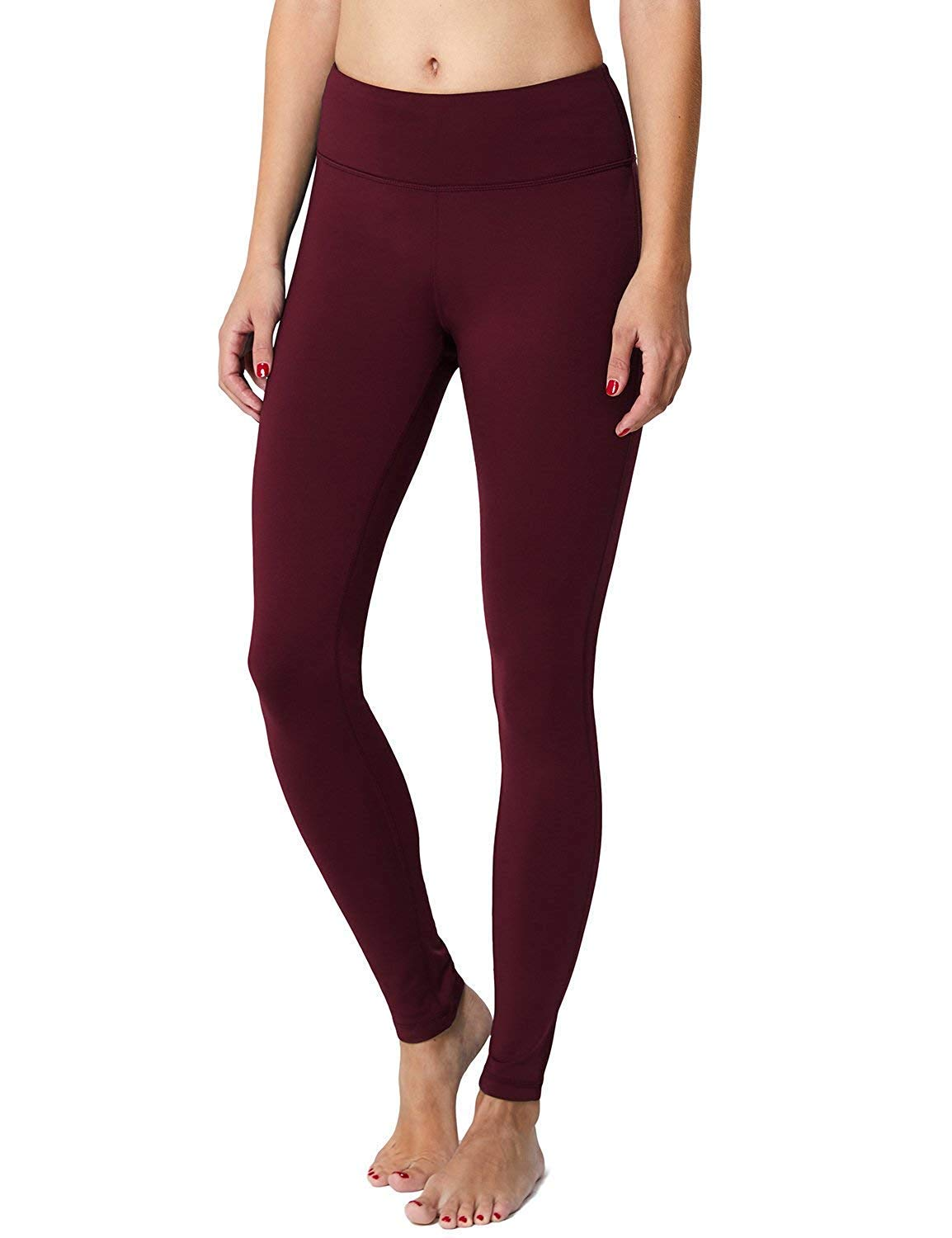 BALEAF Women's Fleece Lined Leggings Yoga Pants Inner Pocket Ruby Wine Size S